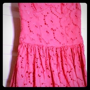 A&F Coral Pink Crochet Strapless Mini Dress